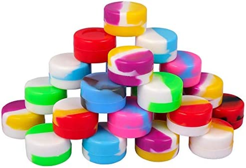 50 Pack Non Stick Silicone Wax Containers 5ml Multi Use Storage Jars Cream Bottles Assorted product image