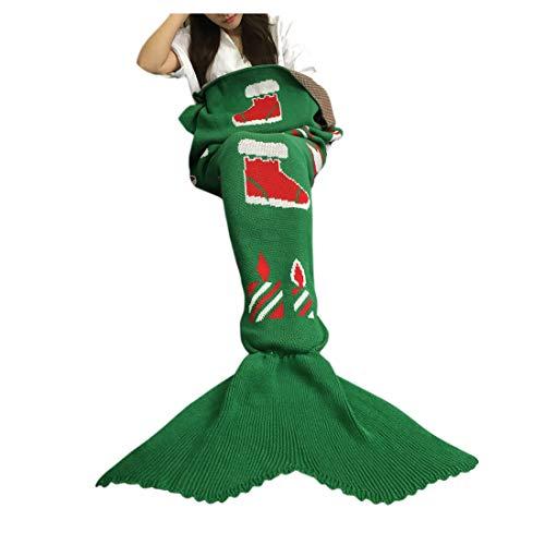 XILIUHU Natale utili Mermaid Coperta a Maglia Fatti a Mano Sleeping Wrap Divano TV Mermaid Coperta di Coda Adulti Bambini Biancheria da Letto Bag Sacca Getta