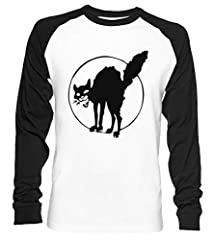 Anarquista Negro Gato Unisex Camiseta De Béisbol Manga Larga Hombre Mujer Blanca Negra