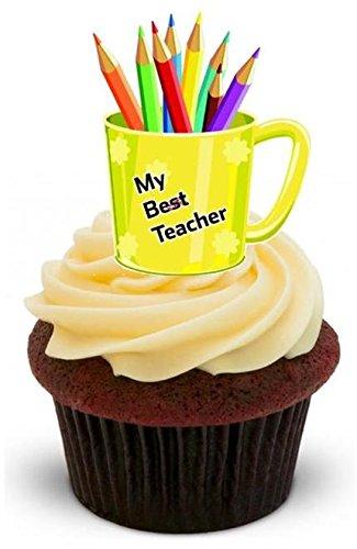 BESTER LEHRER MIT BLEISTIFTEN IN EINEM KAFFEEBECHER - 12 essbare hochwertige stehende Waffeln Kuchen Toppers - BEST TEACHER Pencils in Mug