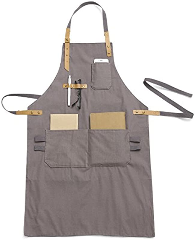 Luchuan 100 Cotton Adjustable Work Aprons Chef Bibs Work Apron With Pockets For Women Man Gray