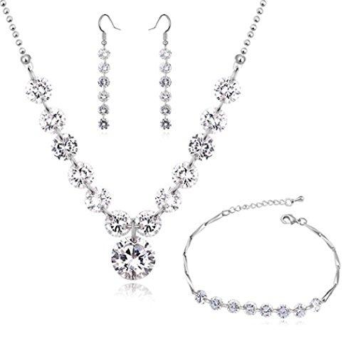 Set da matrimonio composto da collana a filo, orecchini pendenti e bracciale, zirconi austriaci bianchi, placcatura in oro bianco 18ct