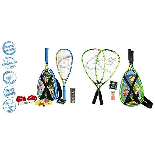 Speedminton® S700 Set – Original Speed Badminton/Crossminton Allround Set inkl. 5 Speeder®, Spielfeld, Tasche & Junior Set – Original Speed Badminton/Crossminton Kinder Set inkl. 2 Fun Speeder®
