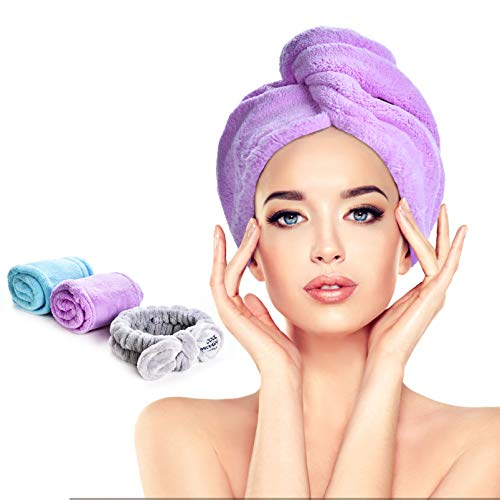Rino Soft 3 Pack(2+1) Microfiber Hair Towel Wrap, Shower Cap, Hair Drying Caps, Super Absorbent Quick Dry Hair Turban For Drying Curly, Long & Thick Hair to Protect Hair (Blue+Purple)