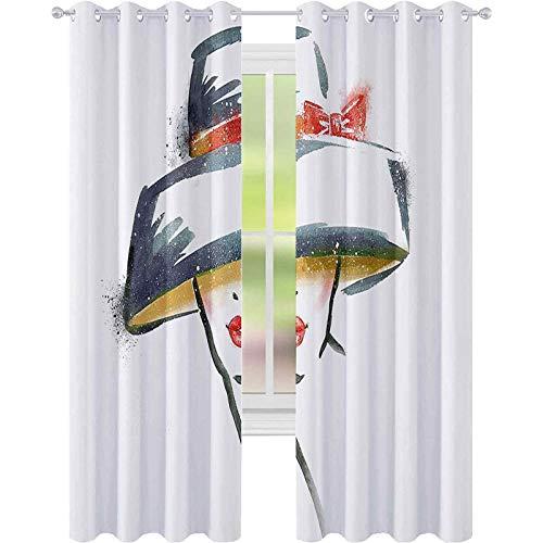 Cortina de aislamiento oscurecida con ojales, para mujer, estilo vintage, con sombrero estilizado, romántico, elegancia, impresión artística, 52 x 84, para sala de estar, azul, gris, rojo, amarillo