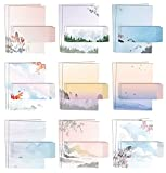 Japanese Watercolor Stationery Paper Set, 100 Piece Set (50 Sheets + 50 Matching Envelopes), Letter Size 8.5 x 11 inch, 9 Designs, Double Sided Printing Paper, by Better Office Products