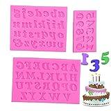 3 Pezzi Stampi in Silicone,Lettere e Numeri Stencil,Numeri Stampo in Silicone 3D,Lettere Numeri Stampini,per Realizzare Cioccolatini, Saponi, Biscotti, Cubetti di Ghiaccio, Dolci