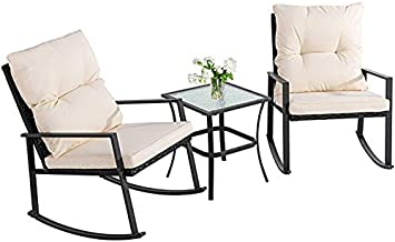 Walsunny 3 Pieces Patio Set Outdoor Wicker Patio Furniture Sets Modern Rocking Bistro Set Rattan Chair Conversation Sets with Coffee Table(Beige)