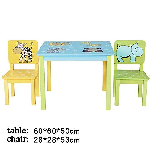 Juego de mesa y silla para niños, mesa y silla de jardín de infantes patas de madera maciza, resistente y duradero, con 2 sillas