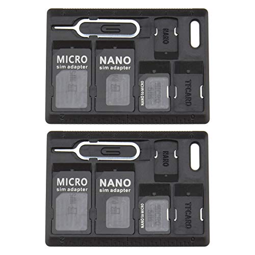 2 x adattatori per schede SIM, nero standard Micro Nano Nano a Micro Converter adattatore con perni di espulsione per vassoio