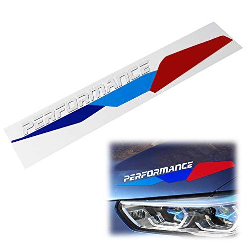 iJDMTOY Iconic M-Sport Tri-Color Stripe w/White Performance Letter Vinyl Sticker Compatible With BMW Hood Corner, Headlight Eyebrow