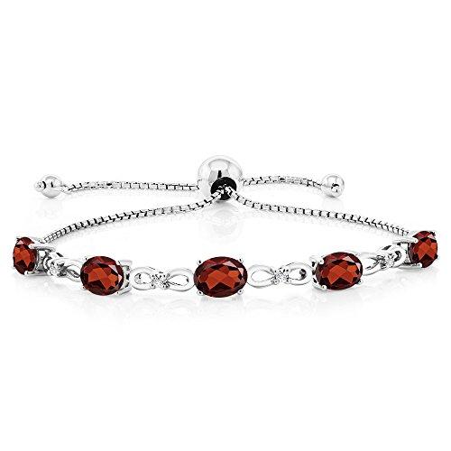 Gem Stone King 925 Sterling Silver Red Garnet and Lab Grown Diamond Women's Tennis Bracelet (4.50 Cttw, Gemstone Birthstone, Adjustable up to 9 inches)