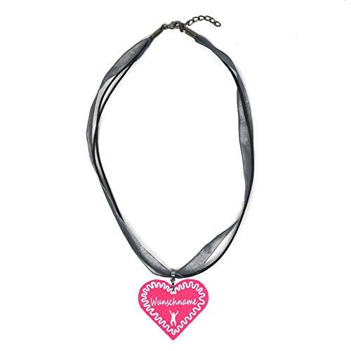 benobler Trachtenschmuck Trachtenkette Organzaband grau mit Filz Herz Damen Dirndlkette Organzakette Oktoberfest Wunschaufdruck (Herz - pink)