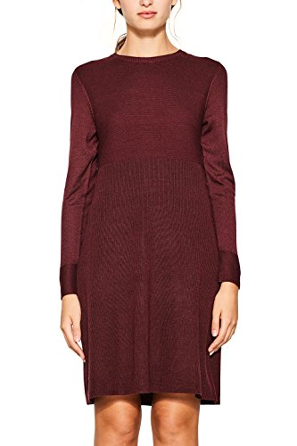 edc by ESPRIT Damen 107CC1E009 Kleid, Rot (Bordeaux Red 600), Small