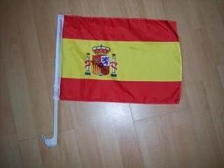 Spanien bilflagga med fladdermus för fastsättning vid bilglaset på cirkelns skala. 30 x 45 cm av profimmaterial