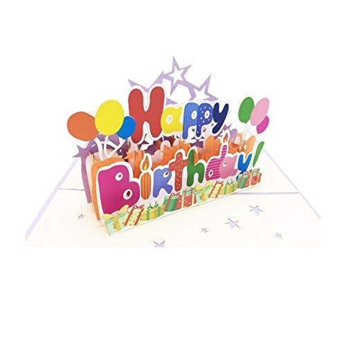 Geburtstag, Glückwunschkarten Mit Happy Birthday Luft Ballons 3d Pop Up Handgefertigt Geburtstagsgeschenk Karte Gutschein Geschenkideen Dreiklang - be smart