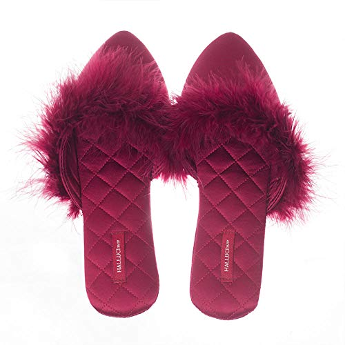 Flip Flop-GQ Zapatillas de Raso Novia Dama de Honor Boda con Ceremonia de la Mano Zapatillas de Plumas de Avestruz interiores-36/37_Vino Tinto