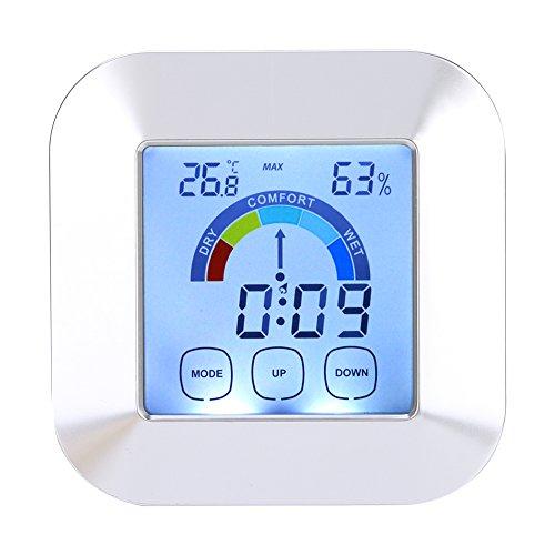 Blantye Termómetro Digital para Interiores Higrómetro Temperatura Humedad Tiempo Pantalla de Nivel de Comodidad