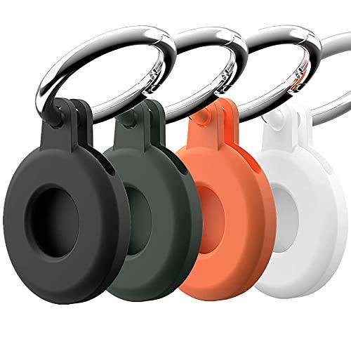 4pcs Schutzhülle Kompatibel mit AirTag, Superdünne Hülle für Airtag, wasserdichter tragbarer Metallschlüsselb& für AirTag Finder, Kratzfeste tragbare Hülle mit Schlüsselring