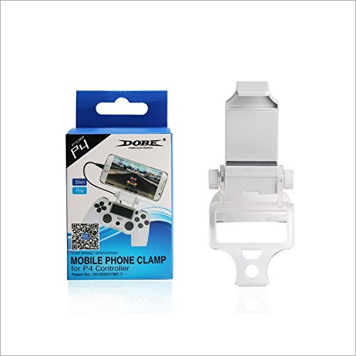 Dobe PS4 Controller Mobile Smart Phone Clip Mount Holder White for Sony PlayStation 4 Dualshock 4 Controller