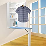 qotone Ironing Board Cabinet Wooden Wall Mounted Storage Shelves Foldable with Blackboard Frame Front Door White