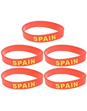 BESPORTBLE 5 Piezas Silicona España País Pulsera Deportes Nacional País Bandera Pulsera para Evento Deportivo 2020 Olimpiada Mundial Copa Favor