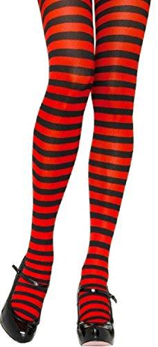 Leg Avenue Damen Strumpfhose 60 DEN Schwarz Rot quer geringelt Einheitsgröße 36 bis 40