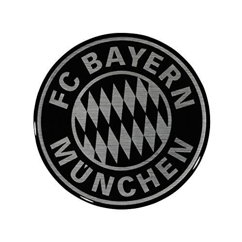 Bayern München Autoaufkleber - 3D Logo - Sticker schwarz/Silber Aufkleber kompatibel FCB - Plus Lesezeichen I Love München