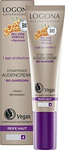 Bio Straffende Augencreme von LOGONA Naturkosmetik für reife Haut mit Bio-Sanddorn, minimiert Fältchen um die Augen, Anti-Aging-Augenpflege, Natürlich & Vegan, 15 ml