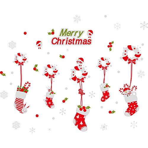 Wandaufkleberweihnachtssticker Glassticker Fenstergestaltung Kindergarten Fenster Türsticker Girlanden Geschenk Schneeflocke Wandsticker Selbstklebende Weihnachtskranzsocken