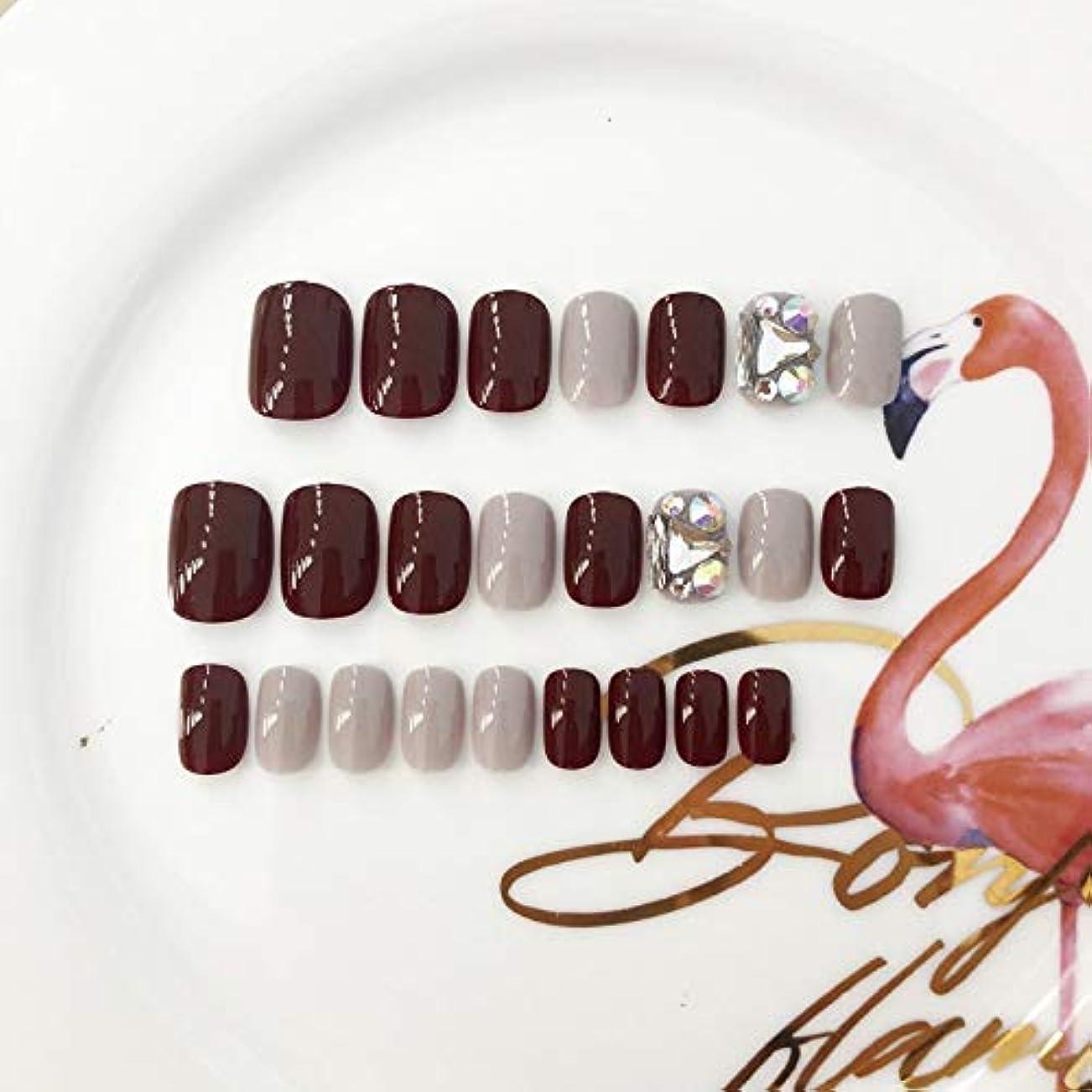 建築家流用する矢印XUANHU HOME 偽爪24個12サイズ赤とダイヤモンド赤の正方形の短い偽の爪