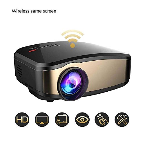 LYDIANZI WiFi proyector portátil 1080p compatibles HD LED proyector DLP con HDMI, USB, TF, y Micro SD Soporta iPhone Android proyectores PC portátil de Inicio