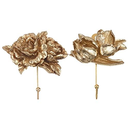Angoily 2 Piezas Gancho de Pared de Flores en 3D Estilo Europeo Vintage en Relieve Floral Gancho de Suspensión para Bufanda Bolsa Toalla Sombrero Cocina Baño Decoración de Oficina