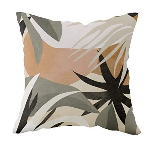 Mosumi Funda de almohada para el hogar de la hoja de cojín de verano de la decoración del sofá de 45 x 45 cm, 1 pieza