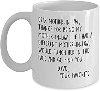 Chère chère belle-mère - 11 ou 11 oz meilleure tasse de thé commentaire sarcastique sarcastique inapproprié avec des énonc...