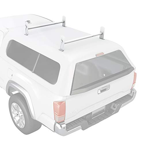 AA-Racks Model DX36 Universal Pickup Truck Cap & Topper 2 Bar Ladder Roof Van Rack System Adjustable Steel Cross Bars - Matte White