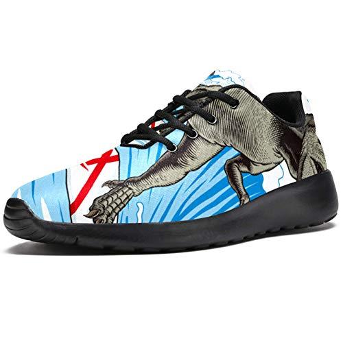 T-REX - Tenis de correr para mujer, diseño de dinosaurio, surf, de malla, transpirable, para caminar, senderismo, tenis, color, talla 39 EU