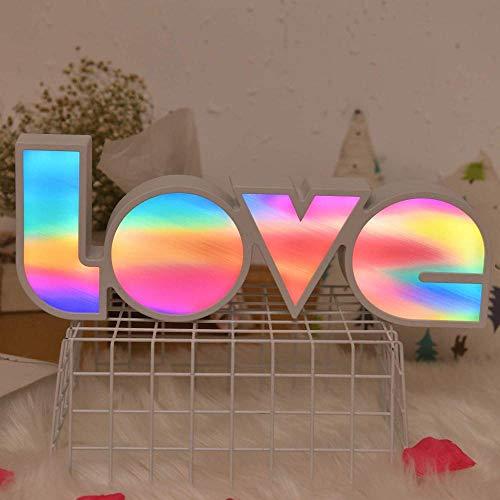 MMYY Gran luz de neón de amor – colorido LED de letrero de amor decoración luz – 14 x 5 luces decorativas de amor para boda, fiesta de Navidad, habitación de los niños sala de estar