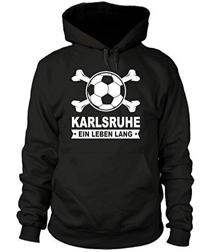 shirtloge - Karlsruhe - EIN Leben Lang - Fan-Kapuzenpullover - Schwarz - Größe XL