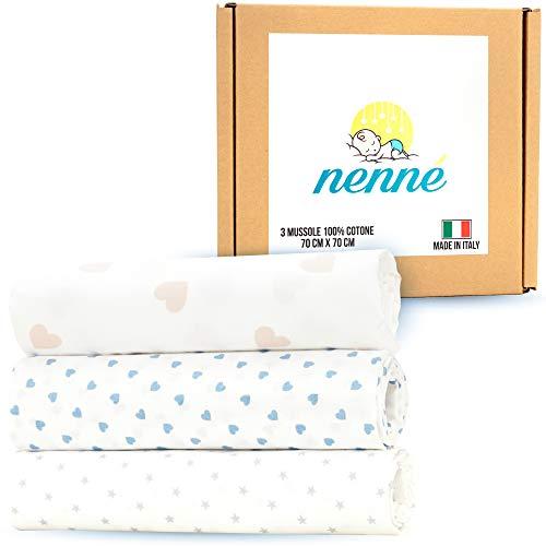 nenné Muselina bebe recién nacida, 100% algodón suave, fabricado en Italia – Swaddle multiuso paquete de 3 - Sábanas mantas para cuna cochecito de bebé, unisex, de algodón ligero, 70 x 70 cm