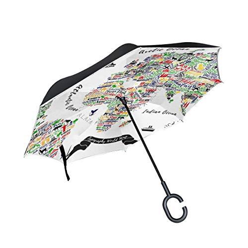 Doppelschichtiger, umgekehrter Weltkarten-Reiseposter mit Städten und Sightseeing-Att-Regenschirm für Autos,...