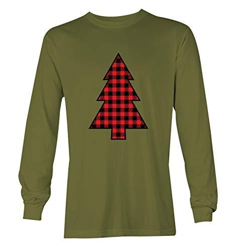 Plaid Pattern Christmas Tree - Xmas Lights Unisex Long Sleeve Shirt (Olive, X-Large)