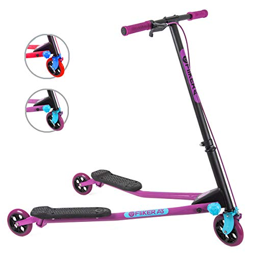 Yvolution Y Fliker Air A3 Kids Drifting Scooter | Swing Scooter for Boys and Girls Age 7+ Years (Purple), Medium