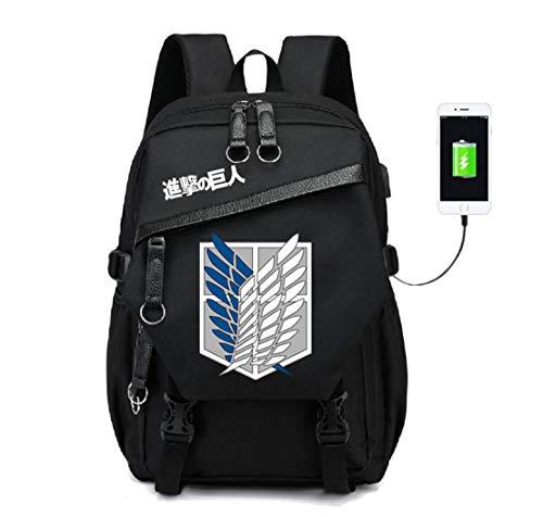 YOYOSHome Attack on Titan Anime Cosplay Daypack Bookbag Laptop Tasche Rucksack Schultasche mit USB-Ladeanschluss