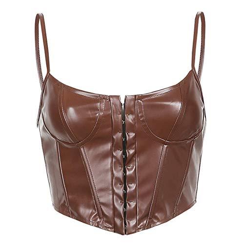Geagodelia Corsetti da Donna Sexy Push-up Bustier Senza SpallineScoperte Slim Crop Top Clubwear Party Outwear (Marrone, S)
