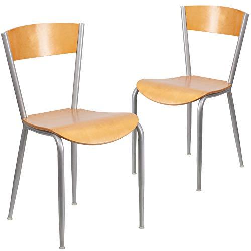 Flash Furniture 2 Pack Invincible Series Silver Metal Restaurant Chair - Natural Wood Back & Seat