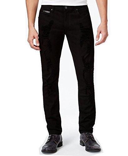INC International Concepts Men's Faux-Leather Trim Skinny Jeans (30W x 30L, Black)