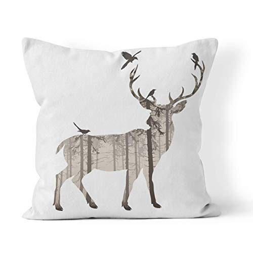 Pamela Hill Throw Pillow Cover Stag Silhouette of Deer with Pine Forest and Birds Browns White Wildlife Head For Home Decoration,18 x 18 Inch