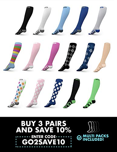 Go2 Compression Socks for Women and Men Athletic Running Socks for Nurses Medical Graduated Nursing Compression Socks for Travel Running Sports Socks!!(Black,L)