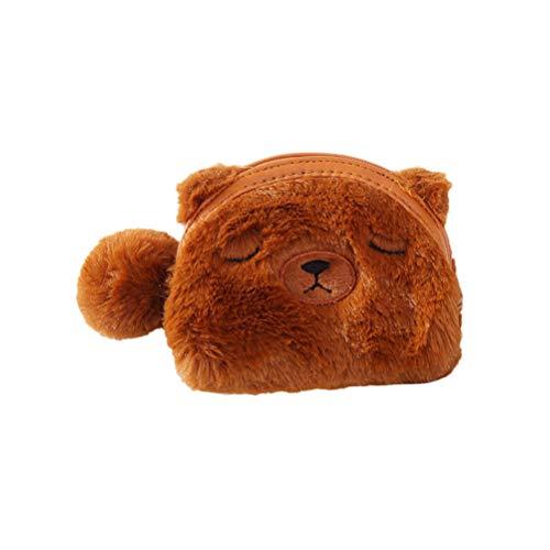 VALICLUD Plush Animal Coin Purse Cartoon Bear Coin Bag Bolsa Cosmética Monedero Estuche de maquillaje para dólares Clave